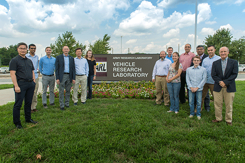 Photo of Engineering faculty and students at Army Research Lab