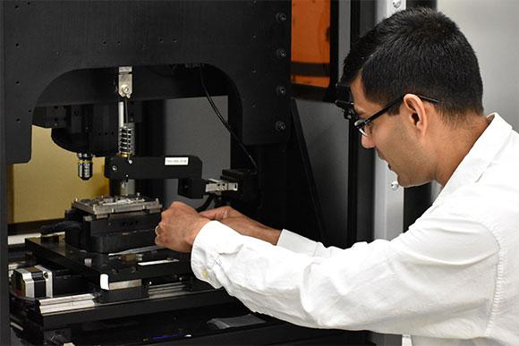 UNT professor Sundeep Mukherjee works in his lab