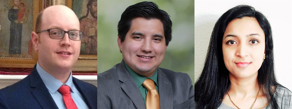 Graduate students Arthur Depoian, Lorenzo Jaques, and Lalitha Nallamothula face forward in three headshots