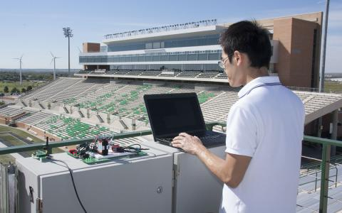 Engineering student at Apogee Stadium