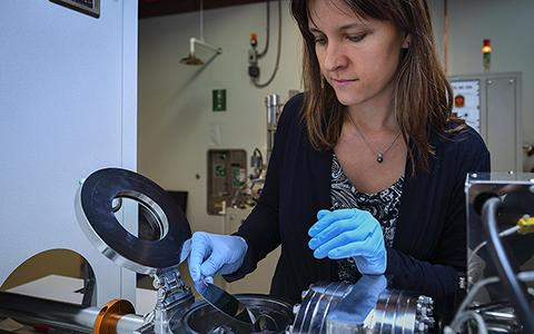 Diana Berman works with tribology machinery