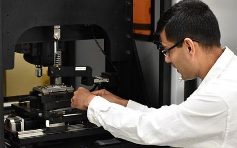 UNT professor Sundeep Mukherjee in his lab