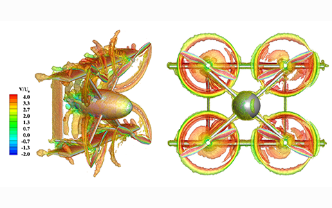 graphic simulation of CRC aerodynamics with rotating propellers