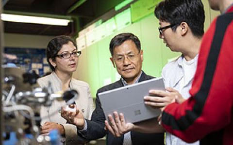 Gayatri Mehta and Wonbong Choi with students
