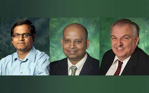 Headshot photos of Mohanty, Rout, and Kougianos with green backgrounds