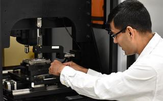 UNT professor Sundeep Mukherjee in his lab